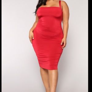 NWT- Fashion Nova Red Lace Up Dress